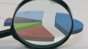 Il primo piano della rotazione di una lente d'ingrandimento e un colore diagram Distorsione ottica stock footage