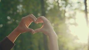 Il primo piano delle mani femminili e maschii che mostrano il cuore modella al tramonto rapporti video d archivio