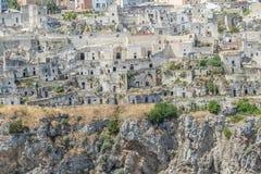 Il primo piano delle pietre tipiche alloggia Sassi di Matera della capitale europea dell'Unesco di Matera di cultura 2019 Immagini Stock