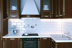 Il primo piano di legno classico 3d della mobilia della cucina rende Immagini Stock Libere da Diritti
