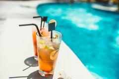 Il primo piano di rinfresco delle bevande lunghe, cocktail alcolici ha servito il freddo Fotografia Stock