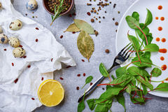Il primo piano di una tavola con la baia va, foglie dell'insalata verde, uova di quaglia, una metà del limone su un fondo grigio  Fotografia Stock