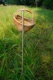 Il primo piano FO fa un picnic canestro che appende su una barretta in erba, esterno con Fotografie Stock Libere da Diritti