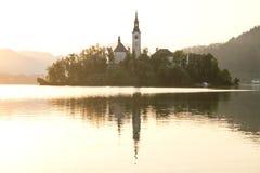 Il primo piano sanguinato dell'isola all'alba sul lago ha sanguinato, la Slovenia Immagini Stock