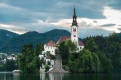Il primo piano sanguinato dell'isola sul lago ha sanguinato, la Slovenia Immagini Stock