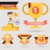 Il primo premio del vincitore con la bandiera della Germania illustrazione di stock