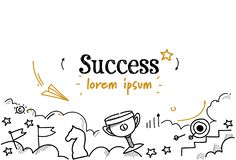 Il primo schizzo di concetto di successo di strategia del posto del riuscito vincitore di affari scarabocchia lo spazio isolato o illustrazione di stock