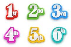 il primo secondo terzo quarto quinto sesto numera su fondo bianco Immagine Stock
