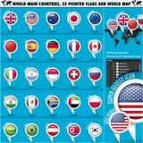 Il principale rotondo 25 del mondo delle bandiere del puntatore dichiara set1 Fotografia Stock