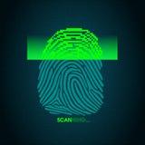 Il processo dell'esame dell'impronta digitale - sistema di sicurezza digitale Immagini Stock Libere da Diritti