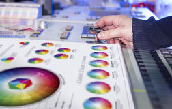 Il processo della correzione di colore e di stampa offset fotografie stock libere da diritti