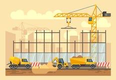 Il processo della costruzione di edifici, gli strumenti di ingegneria, i materiali e le attrezzature vector l'illustrazione piana illustrazione vettoriale