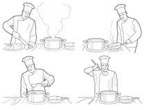 Il processo di cottura con il cuoco unico calcola alla tavola nell'illustrazione dell'interno della cucina del ristorante Il nero Immagine Stock