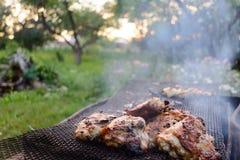 Il processo di cottura del pollo del barbecue sulla griglia mangal Fotografia Stock