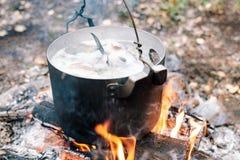 Il processo di cottura della minestra del pesce nella campagna Fotografie Stock