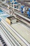 Il processo di spremuta dell'acqua da tappeto bagnato su attrezzatura speciale Fotografia Stock