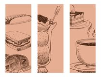 Il prodotto disegnato a mano fresco e la cucina del ristorante naturale del menu dell'insegna di vettore di schizzo dell'alimento Fotografie Stock