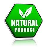 Il prodotto naturale con la foglia firma dentro il bottone verde Fotografia Stock