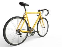 Il profesional giallo mette in mostra la bici Fotografia Stock