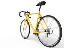Il profesional giallo mette in mostra la bici - fuoco della ruota posteriore Fotografia Stock