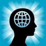 Il profilo capo della donna pensa un globo sui raggi blu illustrazione di stock