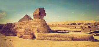 Il profilo completo di grande Sfinge con la piramide nei precedenti a Giza Immagine Stock Libera da Diritti