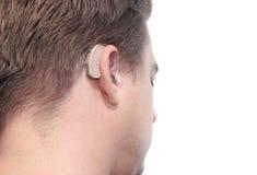 Il profilo dell'uomo sordo Immagini Stock