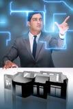 Il progettista che lavora alla progettazione futuristica dell'appartamento 3d Immagini Stock Libere da Diritti