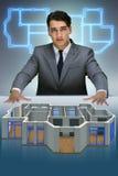 Il progettista che lavora alla progettazione futuristica dell'appartamento 3d Immagine Stock
