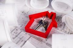 Il progetto architettonico, alloggia il concetto in costruzione Immagine Stock