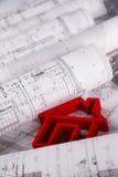 Il progetto architettonico, alloggia il concetto in costruzione Fotografia Stock Libera da Diritti