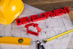 Il progetto architettonico, alloggia il concetto in costruzione Immagine Stock Libera da Diritti