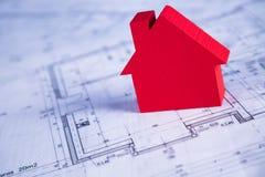 Il progetto architettonico, alloggia il concetto in costruzione Fotografia Stock