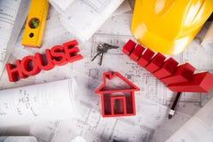 Il progetto architettonico, alloggia il concetto in costruzione Immagini Stock