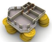 Il progetto dell'appartamento si trova sulle pile di monete Fotografia Stock Libera da Diritti