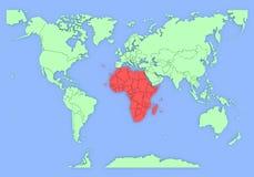 Il programma tridimensionale dell'Africa ha isolato. 3d Immagine Stock Libera da Diritti