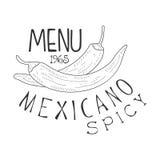 Il promo messicano del menu dell'alimento del ristorante firma dentro lo stile di schizzo con Chili Peppers, modello in bianco e  Fotografia Stock