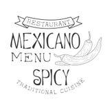 Il promo messicano tradizionale del menu dell'alimento di Quisine del ristorante firma dentro lo stile con Chili Peppers, il nero Fotografie Stock Libere da Diritti