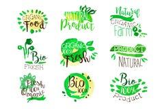 Il promo organico dell'alimento dell'azienda agricola firma l'insieme variopinto Fotografia Stock