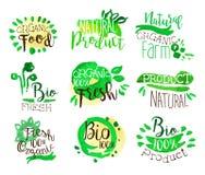 Il promo organico dell'alimento dell'azienda agricola firma l'insieme variopinto Immagine Stock