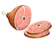 Il prosciutto affumicato del prodotto a base di carne con l'illustrazione piana fette di due e dell'osso sulla pagina del sito We illustrazione vettoriale