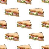 Il prosciutto, il formaggio, il pomodoro e la lattuga interpongono il modello senza cuciture royalty illustrazione gratis
