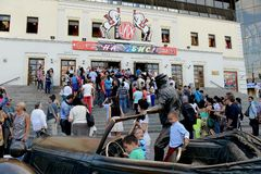 Il pubblico prima della prestazione al circo di Mosca sul boulevard di Tsvetnoy Immagine Stock Libera da Diritti