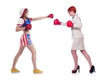 Il pugilato dello sportivo e della donna di affari isolato sopra Fotografia Stock Libera da Diritti