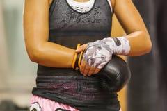 Il pugile della ragazza-, l'atleta, guantoni da pugile d'uso fotografie stock