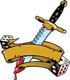 Il pugnale ed i dadi Vector l'illustrazione con la bandiera Fotografie Stock