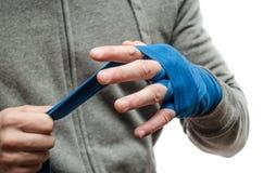 Il pugno dell'atleta, pugile bendato immagini stock libere da diritti