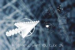 Il puntatore del mouse fermato ha impedito cliccare sulla minaccia cyber CI illustrazione di stock