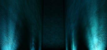 Il punto blu d'ardore della galleria della stanza del neon vuoto scuro lungo enorme del garage accende la manifestazione approssi illustrazione vettoriale
