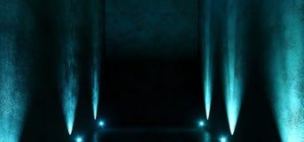 Il punto blu d'ardore della galleria della stanza del neon vuoto scuro lungo enorme del garage accende la manifestazione approssi illustrazione di stock